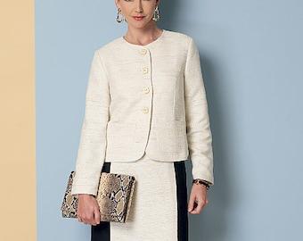 Butterick Pattern B6332 Misses' Collarless Jacket, Dress, Skirt and Pants