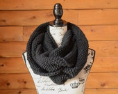 Gifts For Her, Gifts For Him, Black Infinity Scarf, Black Knitted Scarf, Black Scarf, Black Circle Scarf, Black Knit Snood, Black Knit Cowl
