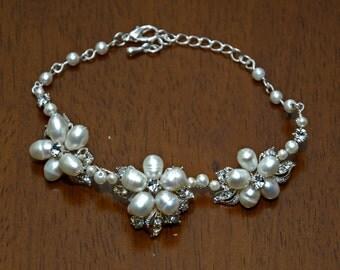 80B Handmade Floral 3 Flower Freshwater Pearl and Crystal Bridal Bracelet
