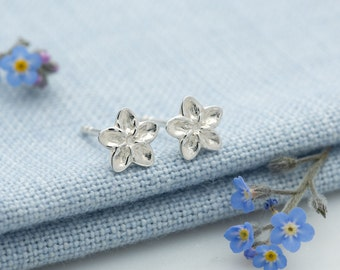 Sterling Silver Forget Me Not Stud Earrings. Matching necklace also available.