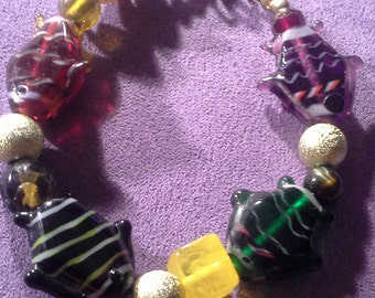 Handcrafted Multi-Color Stripe Fish Glass Bead Bracelet