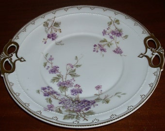 Reduced: Antique Carl Tielsch Handled Floral Lilacs Serving Plate #4343/38 Trimmed in Handpainted Gold from Germany