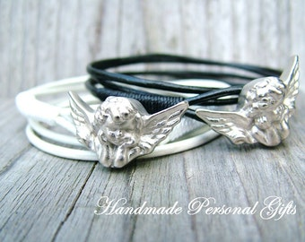 Bracelet leather, Angel, guardian angel, white, wrap bracelet, black