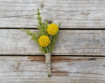 Yellow Billy Button Boutonniere Wedding Buttonhole for Grooms made with artificial silk billy buttons and astilbe rustic vintage