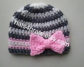 Baby Crochet Hat, Baby Girl Hat, Newborn Crochet Hat, Baby Crochet Hat, Infant Hat, Newborn Photo Prop, Gray Hat, Baby Girl Bow Hat