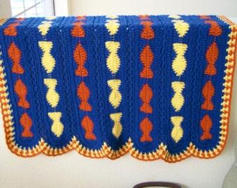 Baby Blanket, Crochet Baby Afghan, Fish Baby Blanket, Toddler Afghan