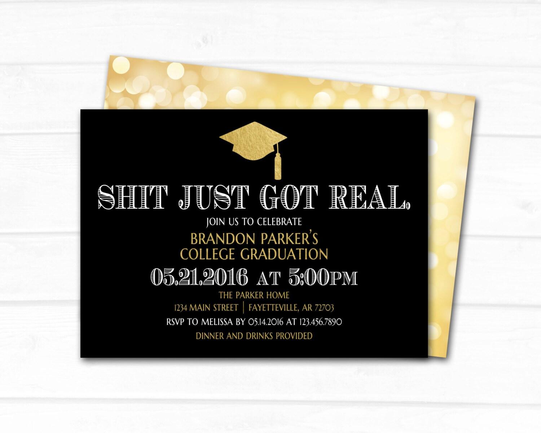 graduation graduation invitation shit just got real black