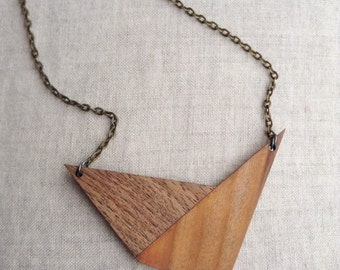 Wood Necklace||Minimal Necklace||Geometric Jewelry||archectural Wood Jewelry||Midcentury modern necklace