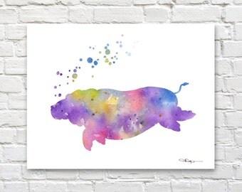 Hippo Art Print - Abstract Watercolor Painting - Nursery Art - Wall Decor