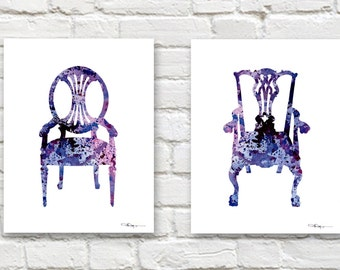 Set of 2 Vintage Chairs Art Prints -Watercolor Paintings - Wall Decor