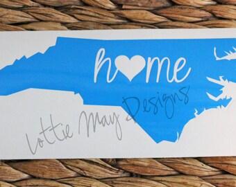 North Carolina home Vinyl Decal - NC Decal - North Carolina - North Carolina State Shape Decal - NC Vinyl - North Carolina Vinyl Decal- home
