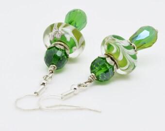 Green Earrings, Green Drop Earrings, Green Dangle Earrings, Lamp work glass and crystal earrings,