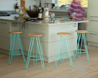 Bar stool, Kitchen Bar Stool, Industrial bar stool, Counter Stool, Hairpin Legs, Industrial stool, Eames.