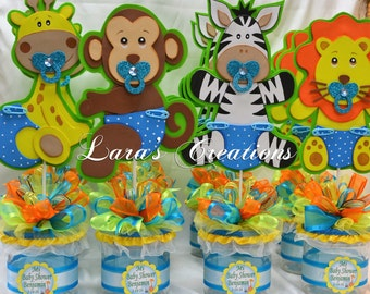 Jungle Safari party centerpiece. Baby Shower party centerpiece.