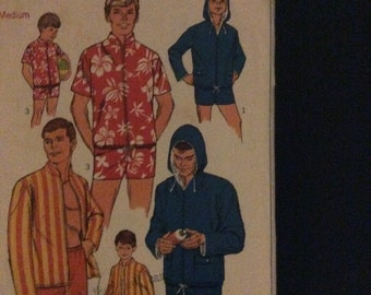 """Vintage 1960's Simplicity 7146 sewing pattern for men's swim shorts & jacket size medium chest 38/40"""""""