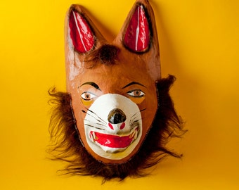 Traditional Mexican paper mache mask wolf