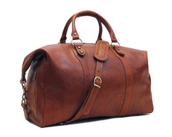 "Leather Duffle Bag 21"" / Floto 4046 Roma / Travel Bag / Leather Sports Bag / Cabin Travel Bag / Weekender  / Overnight Bag / Leather Bag"