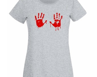 Womens T-Shirt with Red Bloody Hands Design / Blood Vampire Hand Shirts / Funny Walking Dead Shirt + Free Random Decal Gift