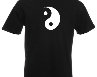 Mens T-Shirt with Yin and Yang Symbol Design / Ethical Symbol Shirts / Taoism Daoism TShirt /Philosophy Yoga + Free Decal Gift
