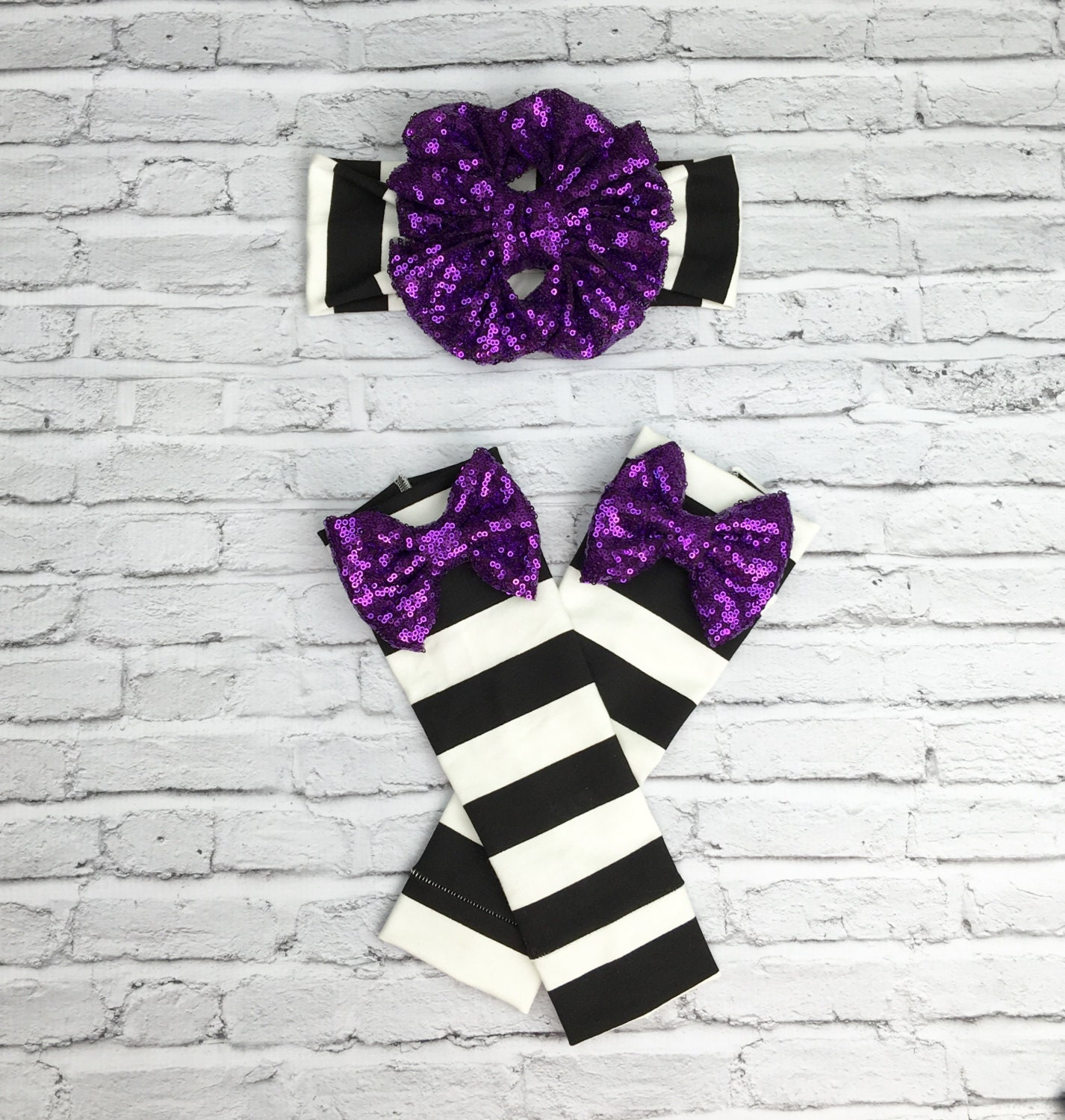 halloween purple sparkle floppy bow on 1 striped headband and leg warmer set babies