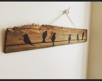 Wall art, Birds on a wire painting, repurposed wood sign, hand made, blackbird sign, blackbird painting