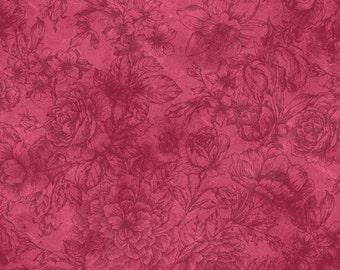 Pink Flourish Bella Suede Quilting Cotton  Bell188-LP by P & G Fabrics