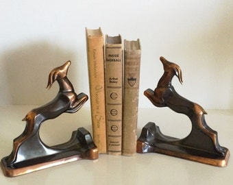 1930's Iconic Art Deco Gazelle Bookends, Trophy Craft Co