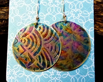 Handcrafted Etched Brass Earrings #70275