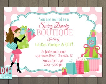 Home Shopping Jewelry Boutique Nail Cooking Candle Spring invitation PRINTABLE DIGITAL FILE - 5x7