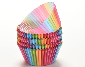 Lot of 100 pcs cupcake liner baking cup cupcake paper muffin cases Cup tray cake mold decorating tools Bright Rainbow color
