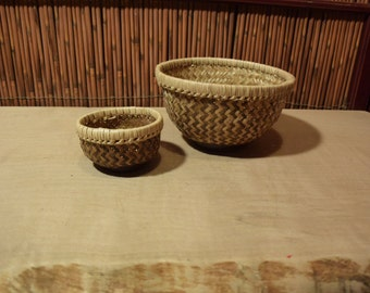 Small Vintage Asian Bamboo Basket Set of 2