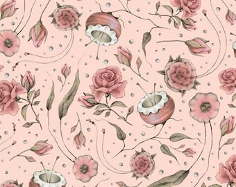 Lost and Found,Mirabelle Curiosities, Rose Floral Santoro Cotton Woven