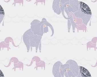 Dreamscapes Elephants on White by Ritchie Rae and Dear Stella Cotton fabric
