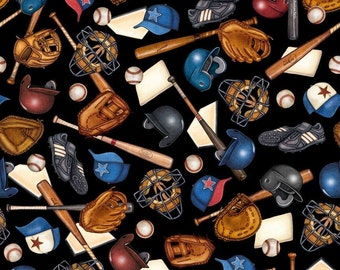 Grand Slam, Baseball Equipment Toss on Black cotton fabric by Quilting Treasures