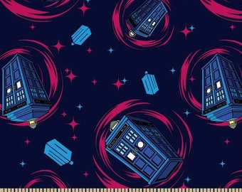 Phone Booth Dr Who Cotton Fabric on Blue