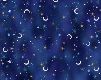 Celestial Sol Midnight Crescents and Stars Dark Blue cotton fabric by Quilting Treasures