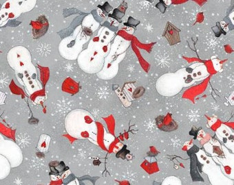 Grey Snowmen Toss, Season's Greetings cotton fabric, by Fabriquilt