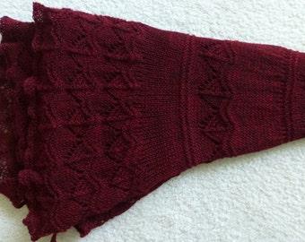 "Beautiful ""Bordeaux Breeze Hand-knit Lace Shawl in 100% Merino"