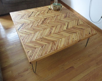 "Reclaimed Wood Herringbone Coffee Table 48"" x 48"""