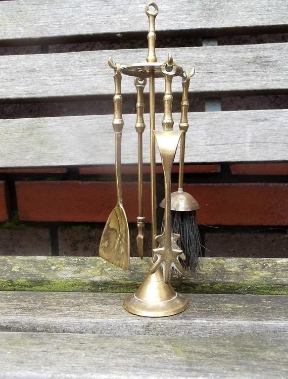 Vintage Brass Mini Fireplace Tools Set