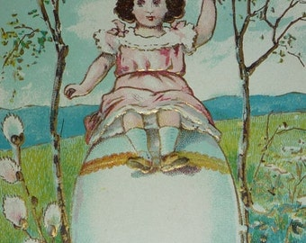 Sweet Little Girl Sits on Top of Giant Egg Easter Fantasy Postcard