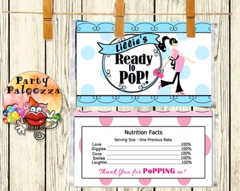 Printable personalized Ready to Pop baby shower popcorn wrapper