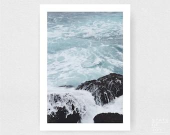 ocean beach photograph - coastal decor - waves - surf - wall art - portrait - square prints   LARGE FORMAT PRINT