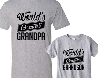 World's Greatest Grandpa - World's Greatest Grandson Heather Matching Shirts