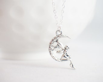 Fairy Necklace - pricess jewelry - tinker bell necklace - Faerie necklace - faerie jewelry - wish necklace - moon necklace - star necklace