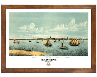 Provincetown, MA 1877 Bird's Eye View; 24x36 Print from a Vintage Lithograph