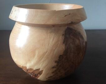 Turned Wood Burl Vessel Bowl