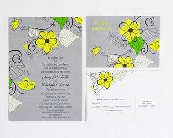 Gray And Yellow Wedding Invitation, Daisy Invitations, Grey And Yellow Daisy  Wedding, Yellow
