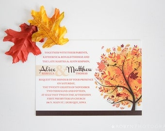 SALE: Autumn Wedding Invitation, Fall Wedding Invitation, Ivory Wedding Invitation, Leaves Wedding Invitation, Orange Wedding Invitation