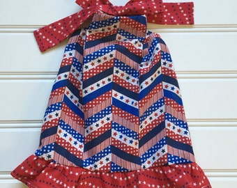 4th of July Dress, Red White Blue Dress, Stars and Stripes Dress, Girls Patriotic Dress, Fourth of July dress, 18 mos
